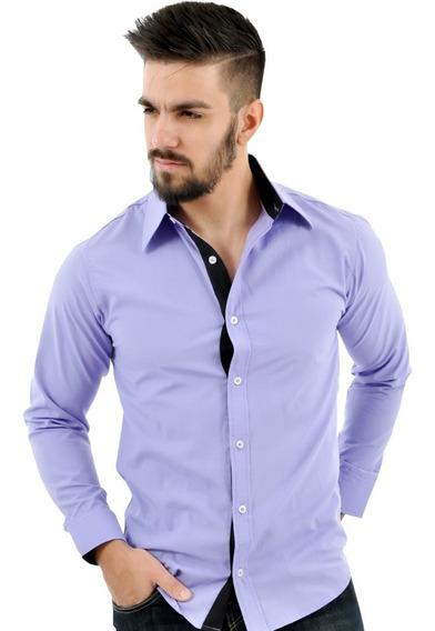 Oferta Kit 3 Camisa Social Lisa Slim Adulto Revenda Promoção