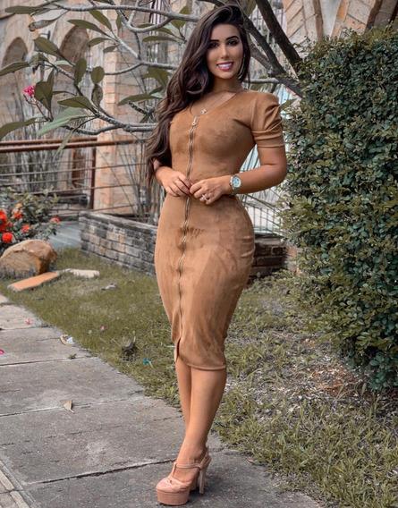 Vestido Feminino Tubinho Midi Longuete Suede Zíper
