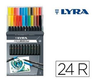 Marcador Punta Pincel Artístico Lyra Aqua Brush Duo 24 Color