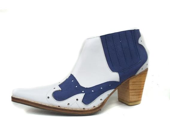 Bota Mujer Tipo Texana Cuero Azul Modelo Artesanal 2020