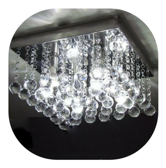 Lustre De Cristal Acrílico Quadrado 30x30 Sala Quarto Hall