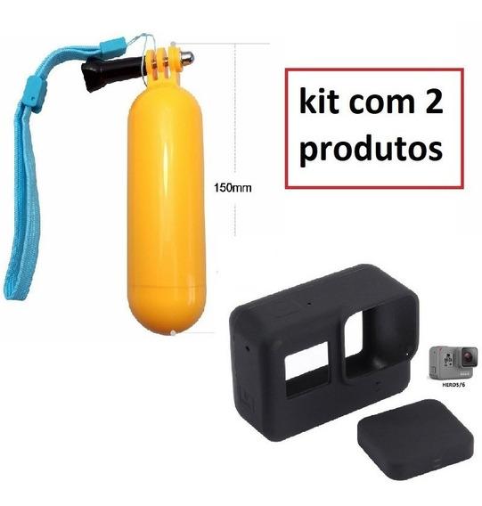 Kit - Capa Protetora + Tampa De Silicone Gopro Hero 5 E 6