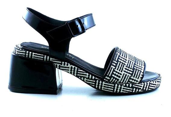 Sandalia Cuero Mujer Briganti Zapato Taco Vestir - Mcsd04764