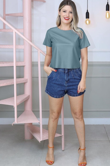 Blusinha Feminina Atacado T Shirt Feminina De Couro Fake