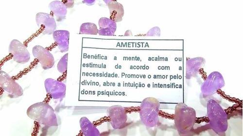 Terço/ Rosário Em Pedra Ametista Natural/ 50cm/ Jesus