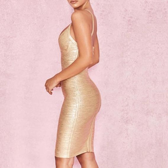 Vestido Dourado Lindo Demais Tamanho 40