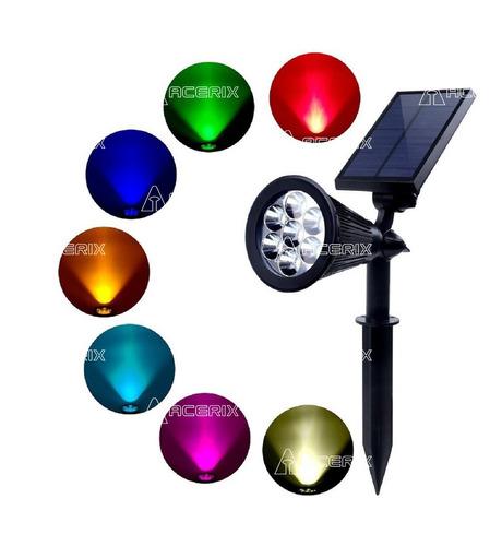 Foco Pincho Solar Led De 7 Colores - Acerix