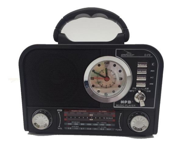 Caixa De Som Grasep D-f8 Preta Rádio Am / Fm / Sw Integrado