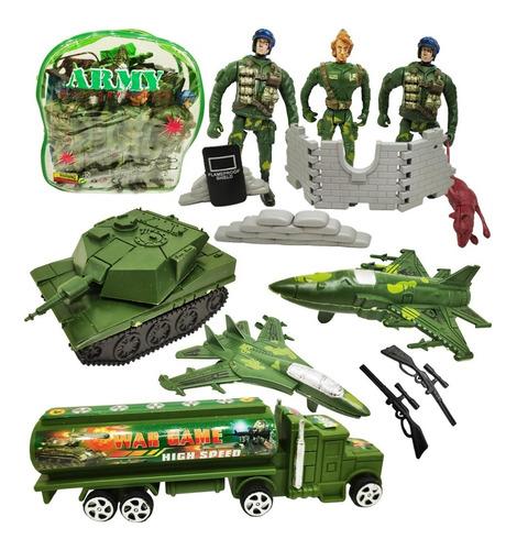 Set Juguete Militar Soldados + Avion + Tanque + Camión Niño