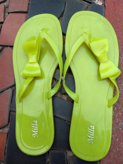 Sandália Chinelo De Plástico Amarela Laço (descolado) 38/39