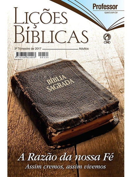 Lições Bíblicas 3º Trimestre De 2017 Professor Adulto Capa D