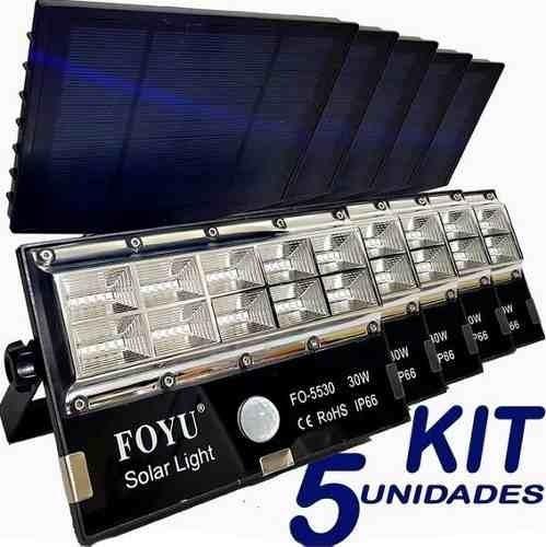 Kit 5 Refletor Micro Led 30w Acendimento Automatico 82739