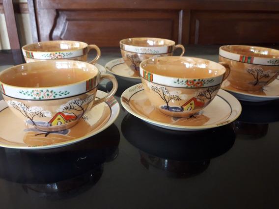 Antiguo Juego Tazas De Te Pintadas A Mano - Japon