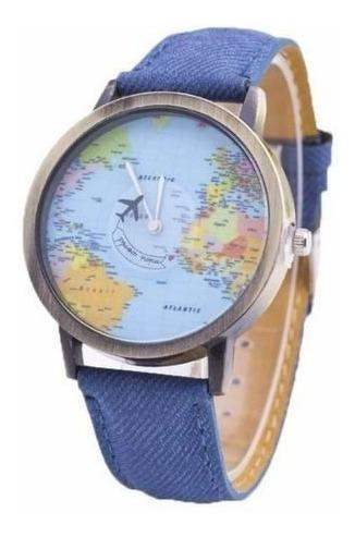 Relógio De Pulso Jeans Mapa Mundi Avião Planeta Terra