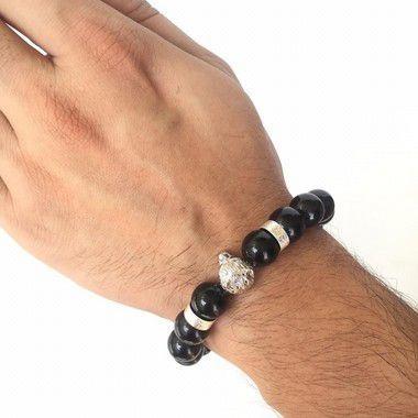 Pulseira Masculina Pedra Turmalina Negra Lobo Prateado 133