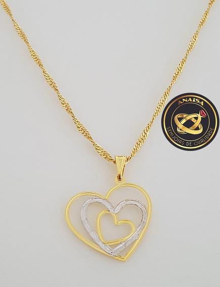 Pingente Três Corações + Gargantilha Banhada Ouro. C1p42