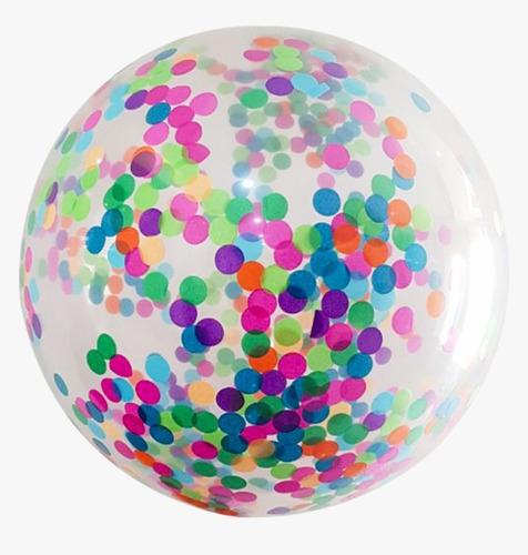 Imagen 1 de 3 de Globo Gigante Cristal Transparente Confetti Multicolor 60cm
