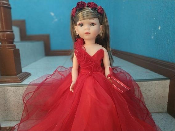 Fina Muñeca Quince Años 45cm Vestido Rojo Envío Gratis