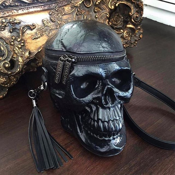 Killstar - Grave Digger Skull Calavera - Bolso Craneo Negro