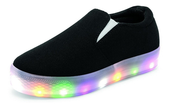 Tenis Casuales Color Negro Para Niño Con Luces Led