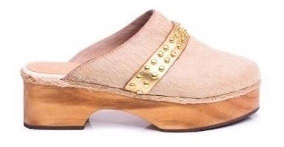 Zapato Mujer Zueco Natacha Cuero Pelo Natural #2992