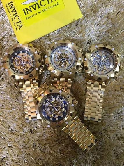 Relógio Pa118 Invicta Venon Hibrid Esqueleto Dourado + Caixa
