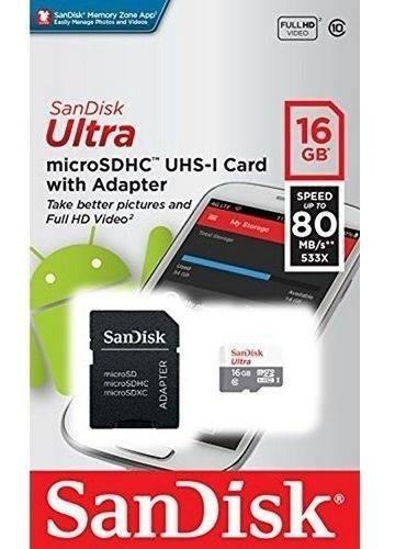 Kit 2 Cartões Memoria Micro Sd 16gb Cl10 Ultra 80mb/s C/ Nf