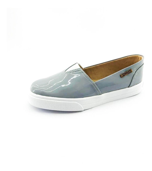 Tênis Slip On Quality Shoes Feminino 002 Verniz Cinza