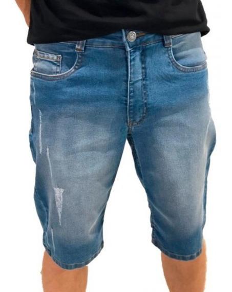 Kit 5 Bermudas Jeans Masculina Slim C/ Lycra Promoção