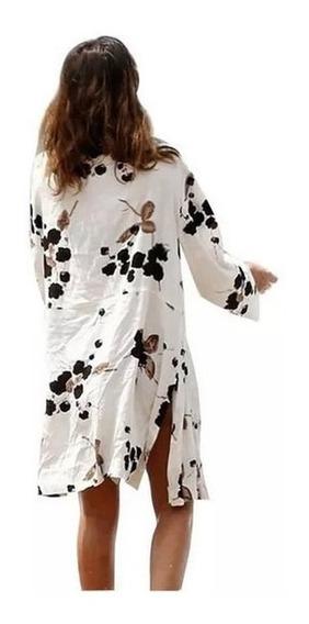 Cover Up Kimono Pareo Para Playa Floreado Salida De Playa