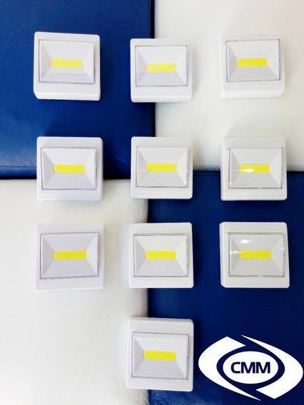 Kit Com 10 Luminárias Cob Led 3w Pilha Sem Fio Switchlight