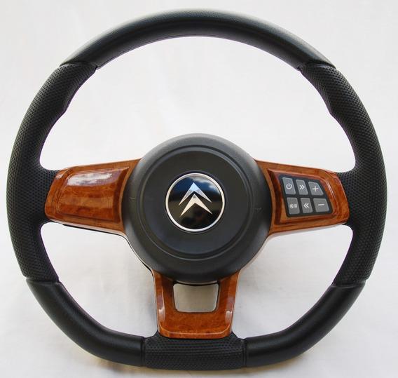 Volante Esportivo Gti Mk7 Comando De Som Citroën C3 Madeira