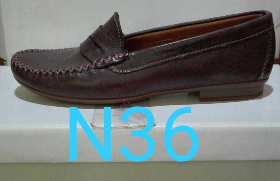 Zapatos Nauticos De Cuero (mocasín) Myj Cueros