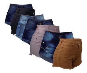 Kit C/5 Short Jeans Brim Cintura Alta Com Elastano Variados