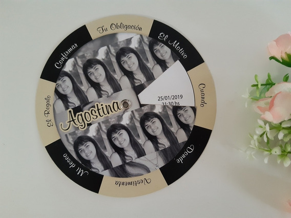 Tarjetas De Quince Invitaciones Giratorias Circulares Foto