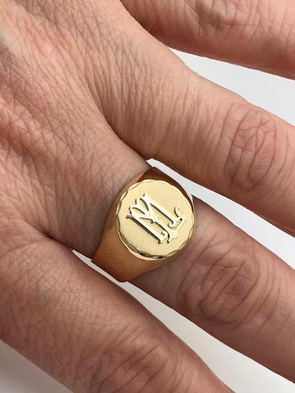 Anel Com Letra Em Ouro 18k Redondo Feito A Mão Monograma