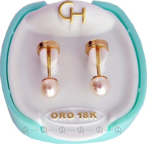 Abridores Ch Perlas Cultivadas 3,5mm Bebe Cod. 108 Oro 18kts