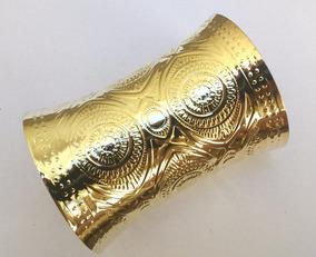 Kit Atacado 10 Braceletes Dourado Grande Moda Egípcia