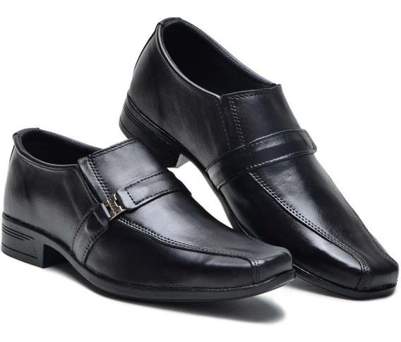 Sapato Masculino Infantil Meninos Modernos Preto Em Couro
