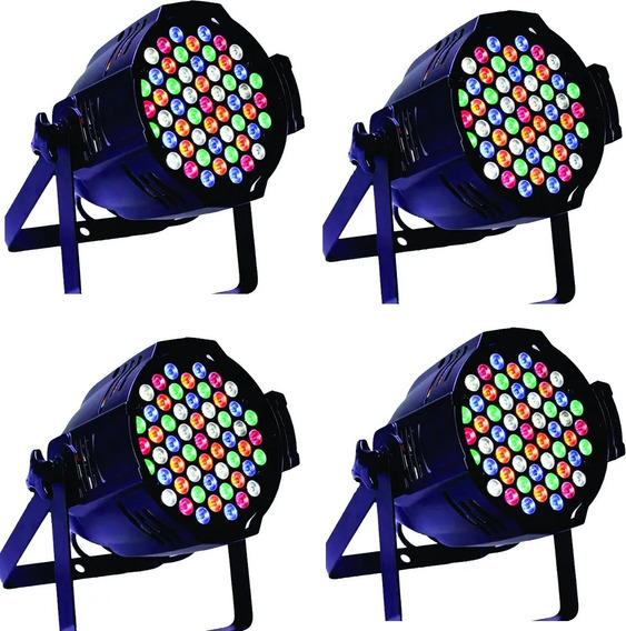 04kit Canhao Refletor Par Led 60 Leds3w Rgbwa Optipar Dmx