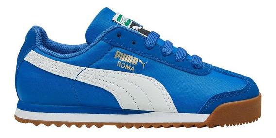 Tenis Casual Puma Roma Basic Summer Jr 4123 Color Azul