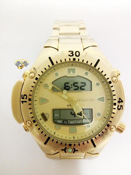 Relógio Atlantis A3154 Aqualand 1060 Citizen Serie Ouro Grde