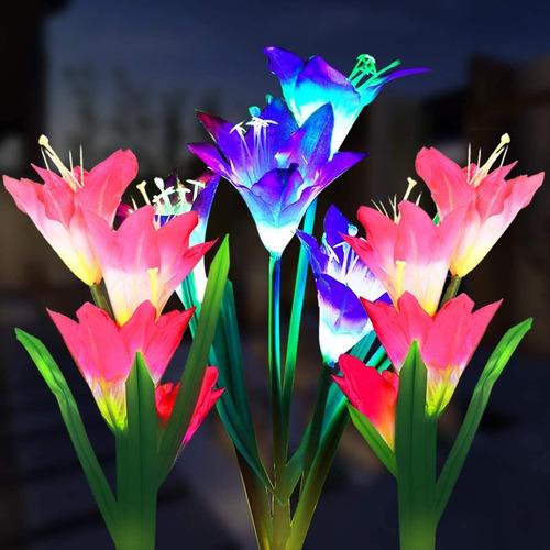 3 Piezas Luces Decorativas Led De Flores Solares Exteriores