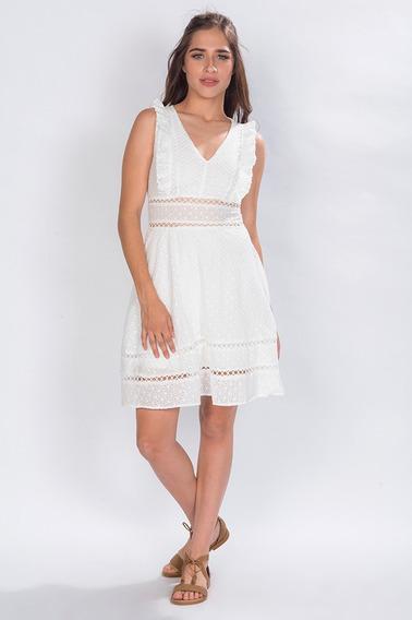 Vestido Mujer Casuales Transparencias Bordado Blanco S81204