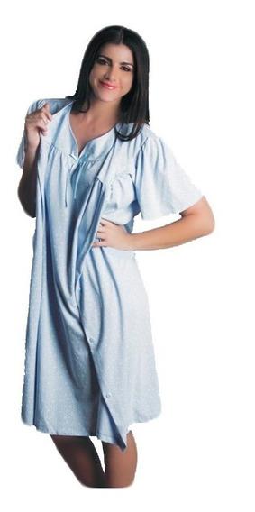 Cojunto De Bata Y Camison Para Dama Pijama Rosa O Azul Tallas Desde Chica Hasta Extra Grande 7011