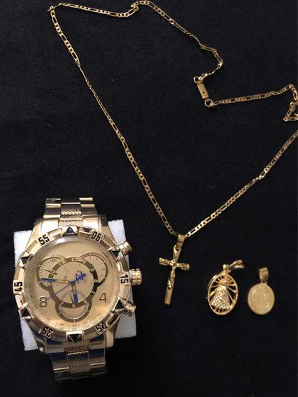 Corrente 2mm 60cm Banhada+ 3 Pingentes+ Relógio Masculino