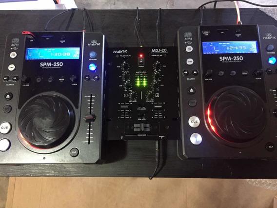 Par Cdj Meric Spm 250 Mp3, Usb,sd,cd, + Mixer 2 Canais