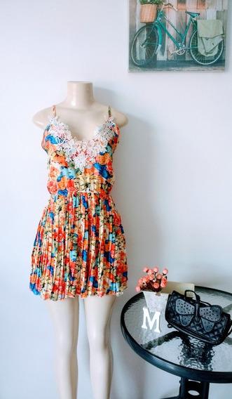 Vestido Plissado Floral