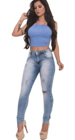 Calça Jeans Feminina Destroyed Biotipo Levanta Bumbum Lycra