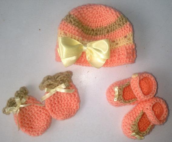 Conjunto Touca+sapatinhos+luvas Para Bebê Em Crochê